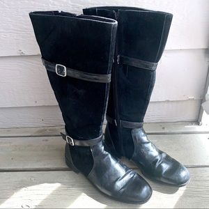 Black Suede Tall Boots